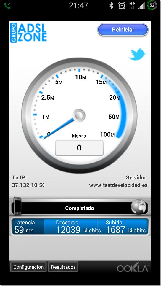 Jazztel test de velocidad móvil