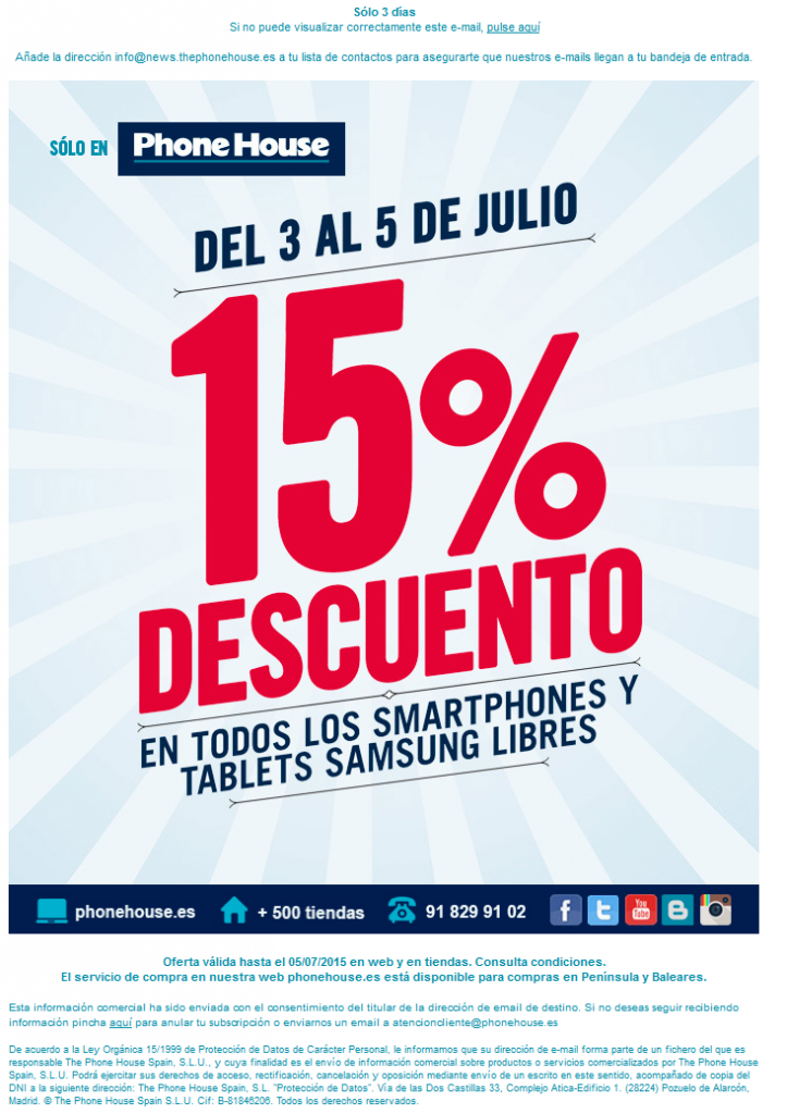 Oferta engañosa Phone House