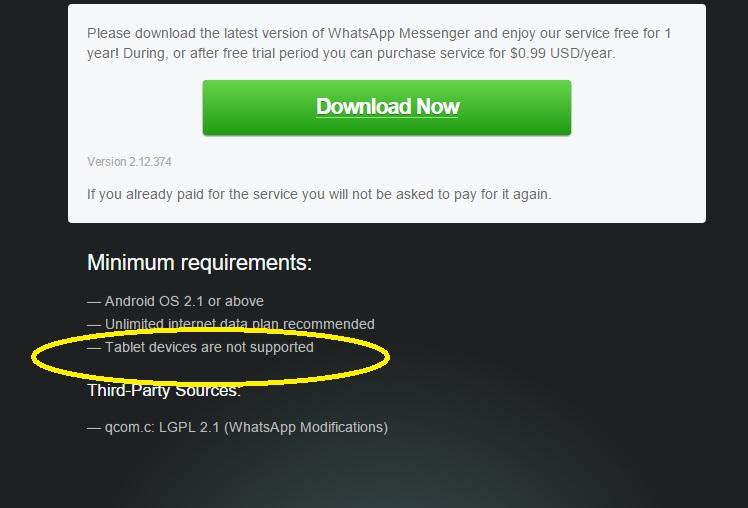 whatsapp en tablet no permitido