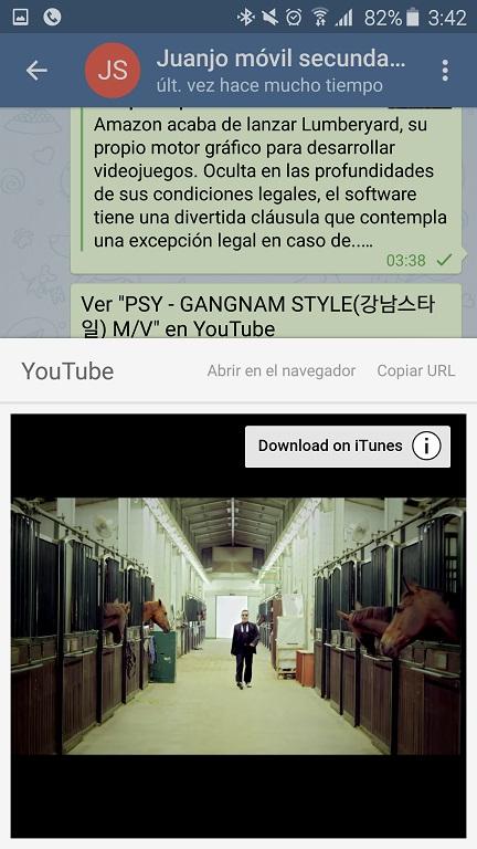 Telegram previsualizar youtube